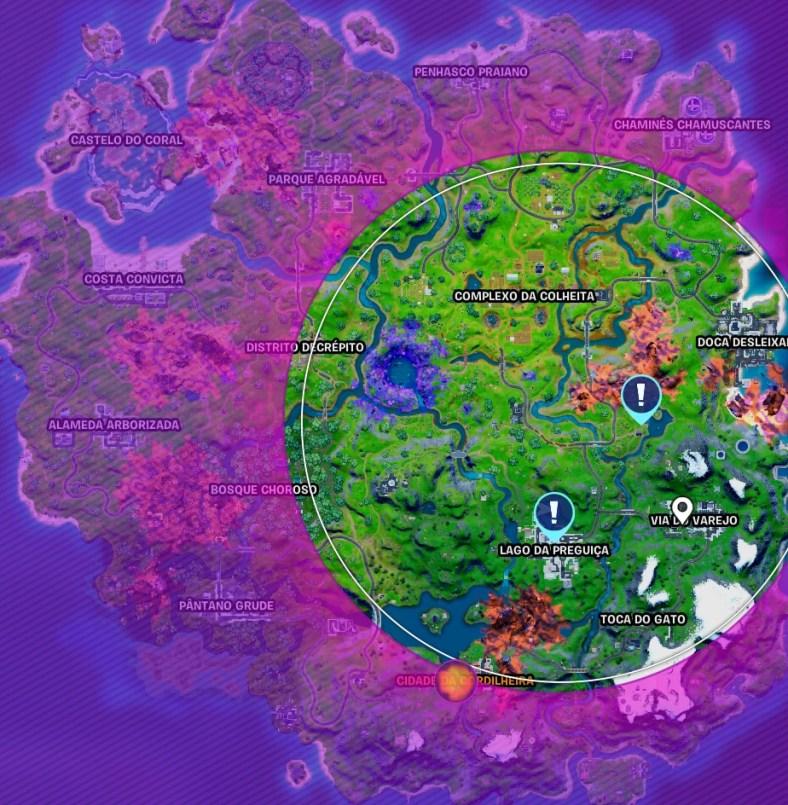 Fortnite - Mapa com os locais do Lago da Preguiça e do Lago da Canoa 02