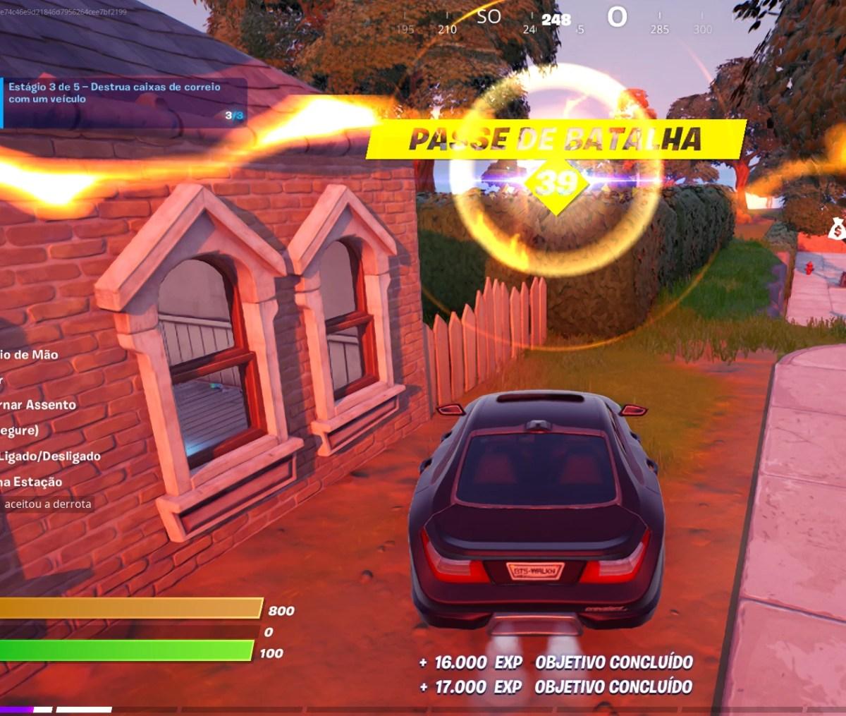Guia de Fortnite - Destruindo uma caixa de correio com um carro 06 - Alameda Arborizada