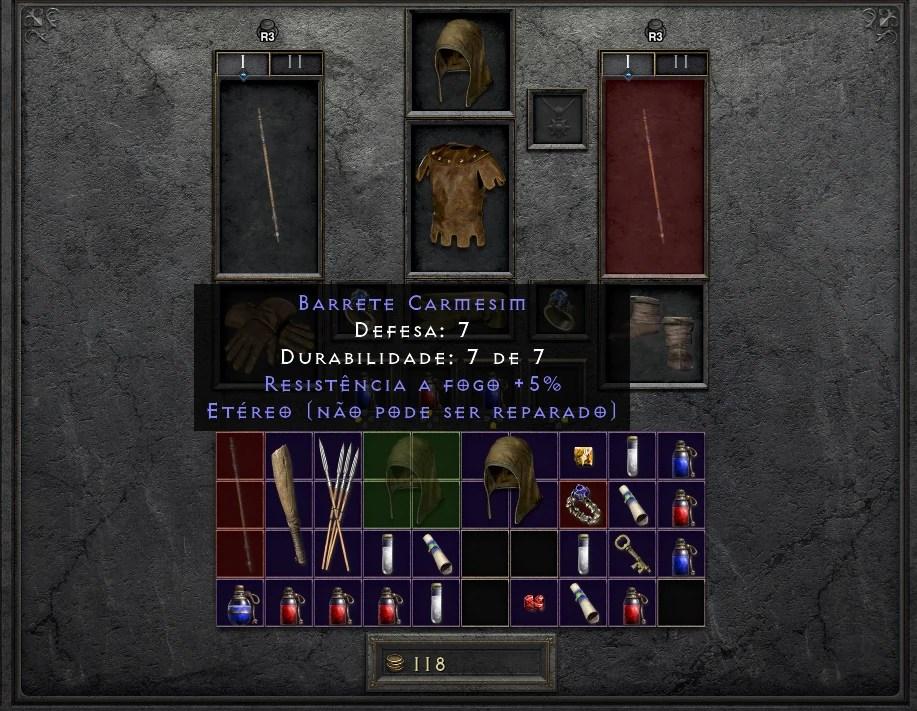 Diablo II Resurrected - Barrete Carmesim - Item Etéreo