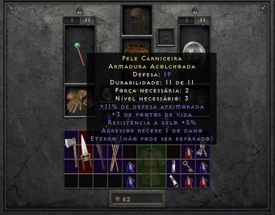 Diablo II Resurrected - Pele Carniceira - Armadura Alcolchoada Etérea