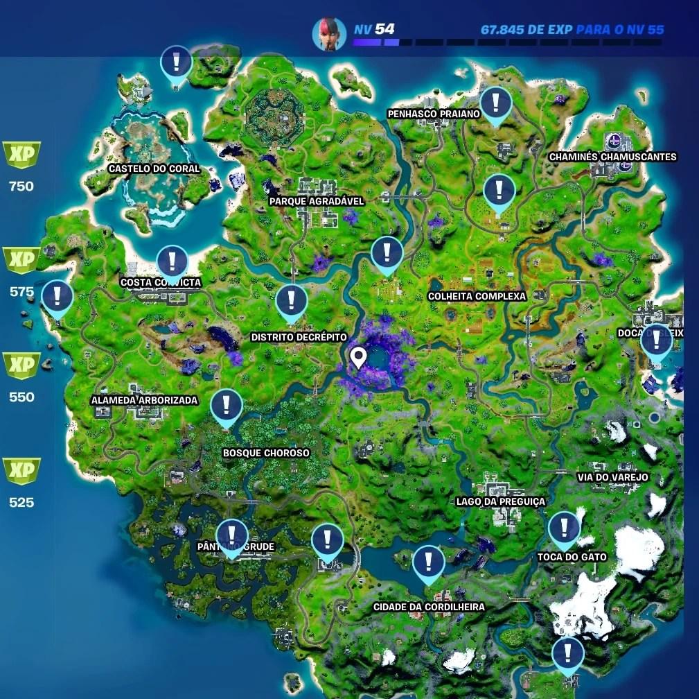 Mapa com a localização dos quadros de caçada em Fortnite