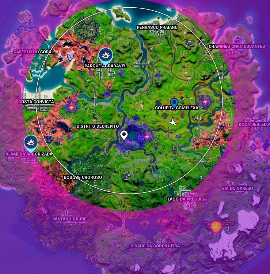 Mapa parcial de Fortnite com as localizações da Alameda Arborizada e do Parque Agradável