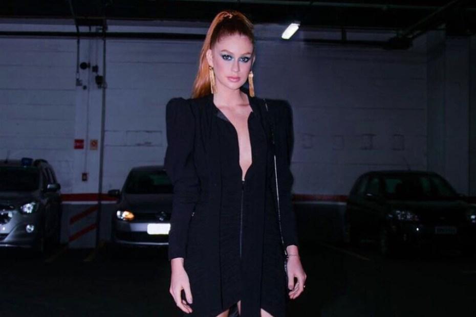Marina Ruy Barbosa vestido elegante capa
