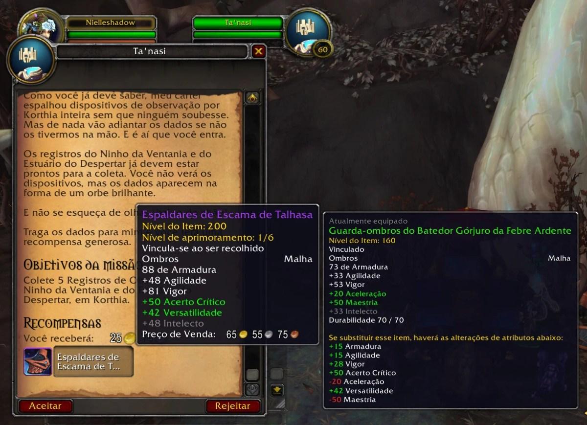 World of Warcraft Shadowlands - Missão com equipamentos em Korthia