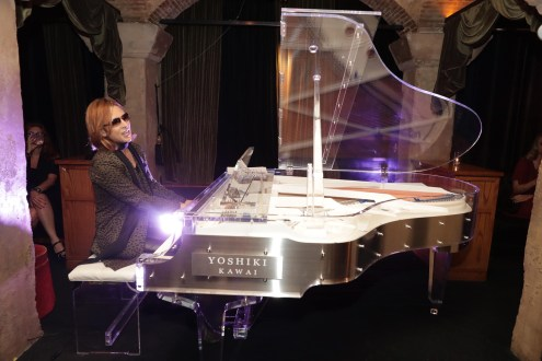 """Yoshiki performs at The Los Angeles Premiere """"We Are X"""" on Monday, October 03, 2016, in Los Angeles, CA. (Photo by Eric Charbonneau/Invision for Drafthouse Films/AP Images)"""