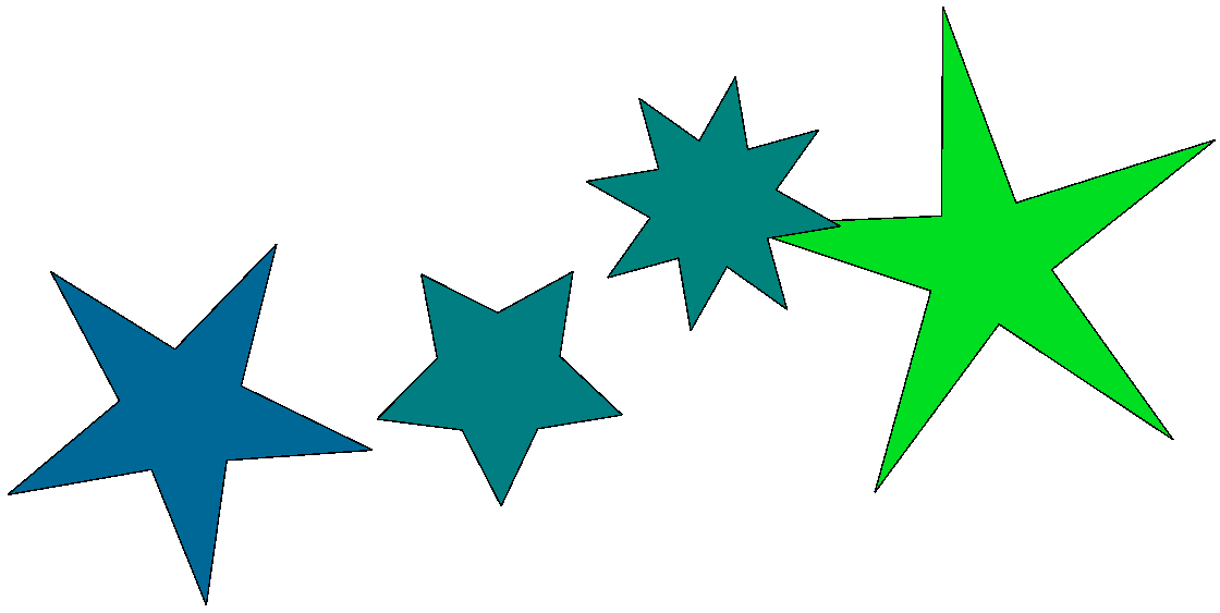 A detail showing four stars we just created