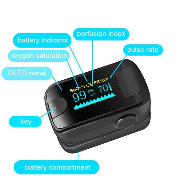 OLED Display Finger Oximetro Monitor for Household Use