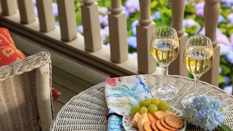wine and cheese at the Hydrangea House Inn