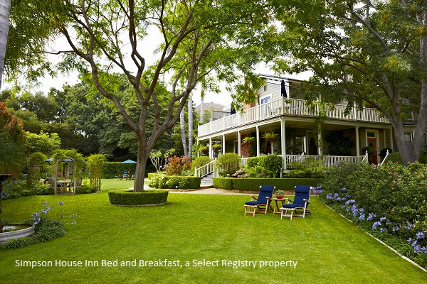 the big backyard and gardens at the simpson house inn bed and breakfast