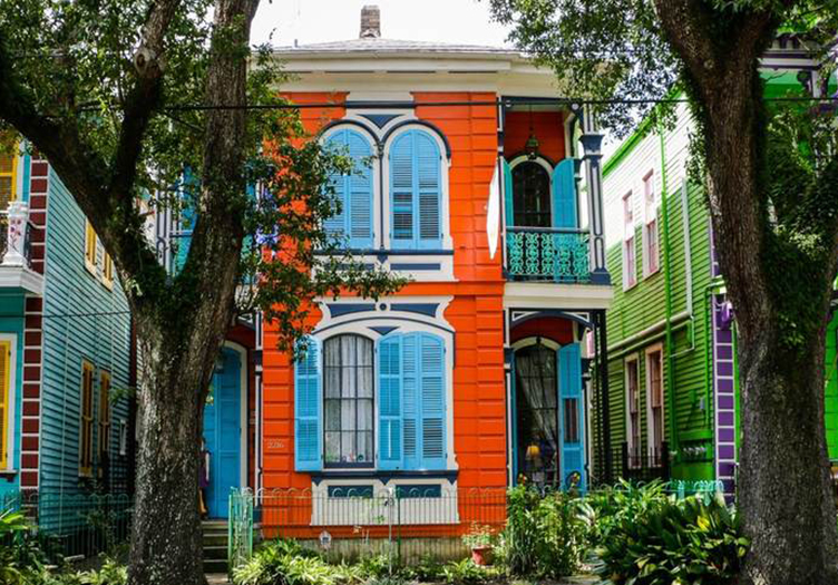 colorful la belle esplanade houses vibrant on the street in new orleans