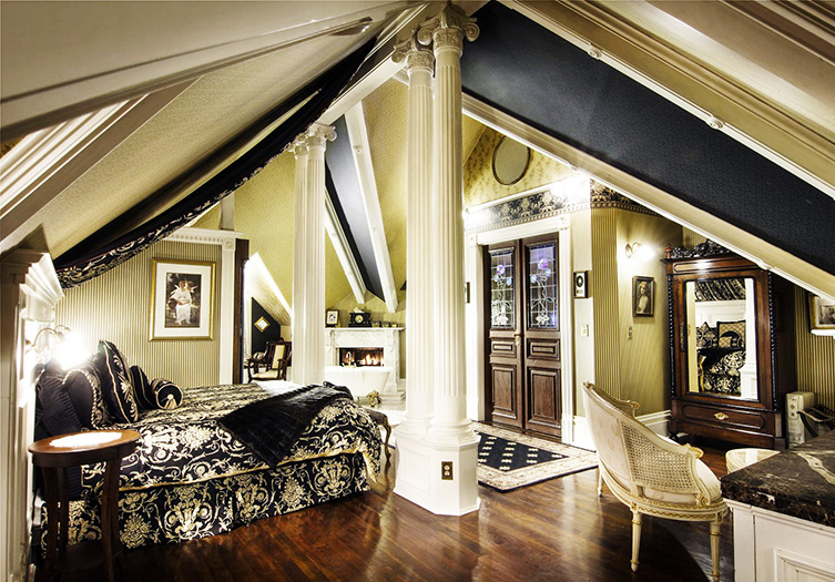 gingerbread bedroom with black and white accents