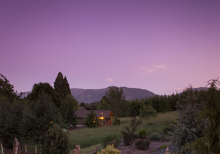 Carson Ridge Luxury Cabin Sunset purple sky with mountains in the background