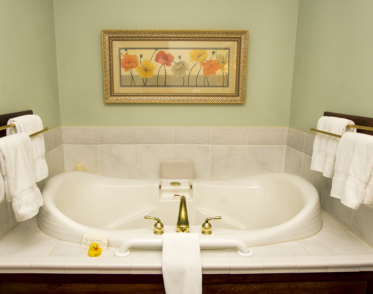 Jetted tub for two with brass faucet