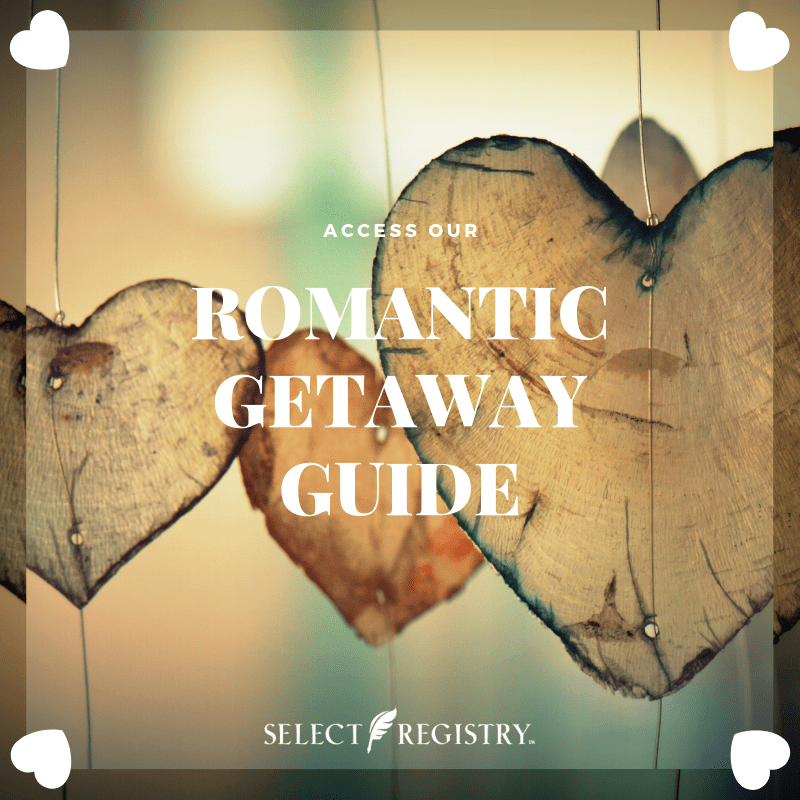 Romantic Getaway Guide February Destinations hearts dangling in view text reads access romantic getaway guide