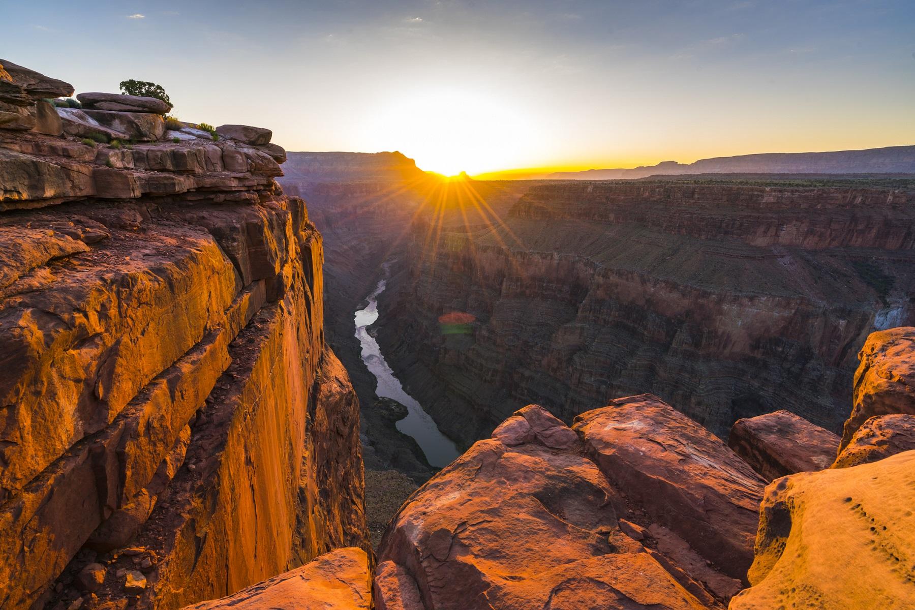 scenic view of Toroweap overlook at sunrise  in north rim, grand canyon national park,Arizona,usa.