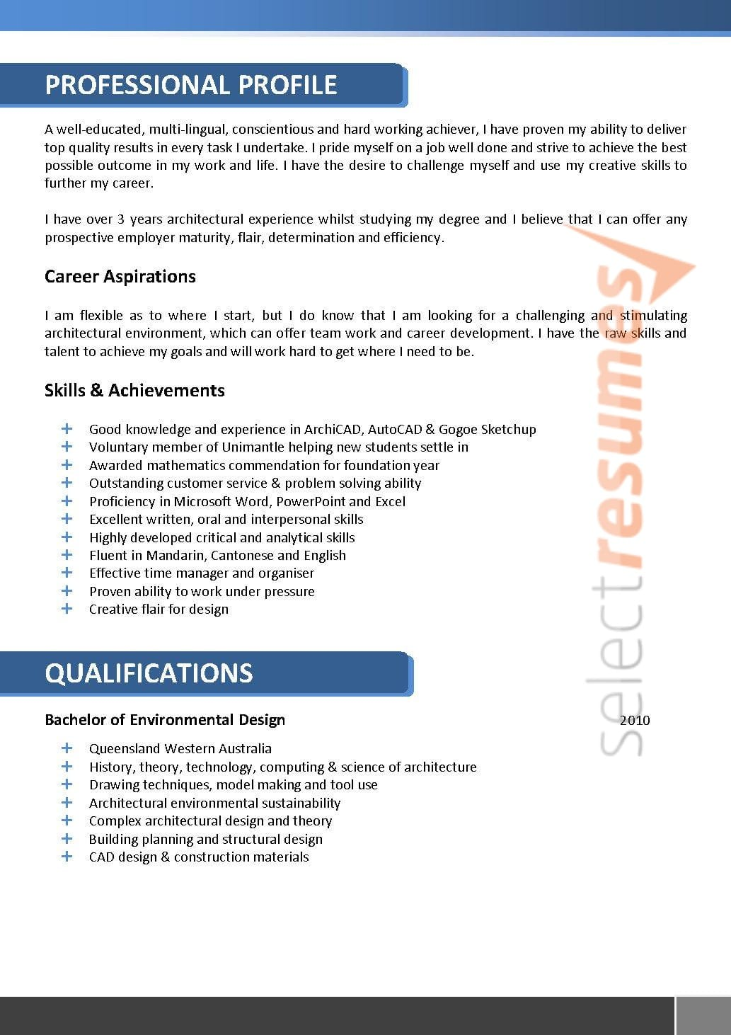 Architect Resume 066 Select Resumes