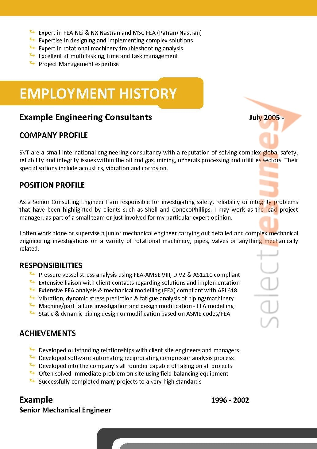 Mining Resume Examples General Design 071 Select Resumes