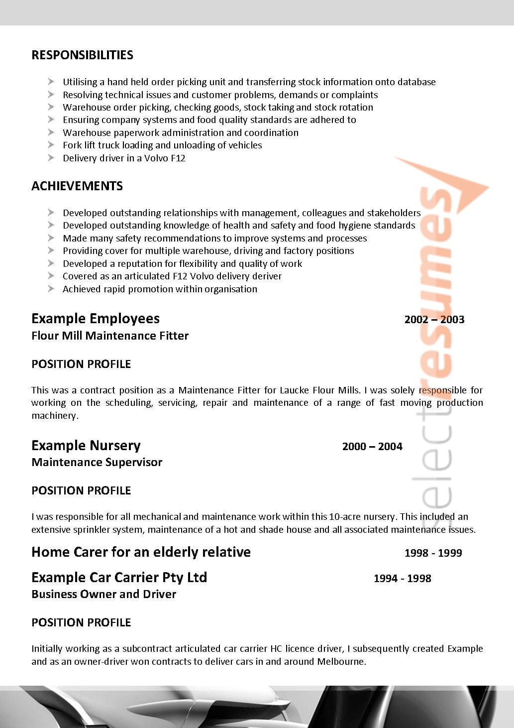 Fitter & Turner Design 075 Select Resumes