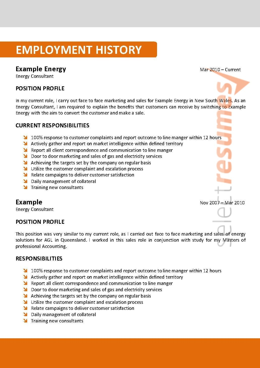 Resume Writing Service Australia Corporate Design 107 Select Resumes