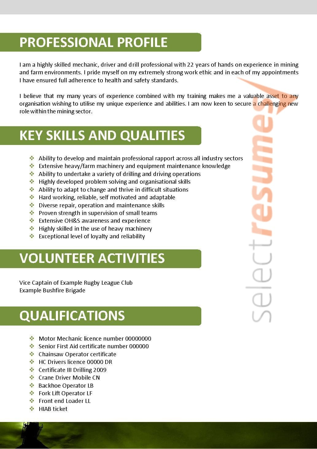 Resume And Selection Criteria Writers Mining Design 147 Select Resumes