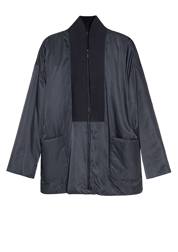 Navy soft parka.