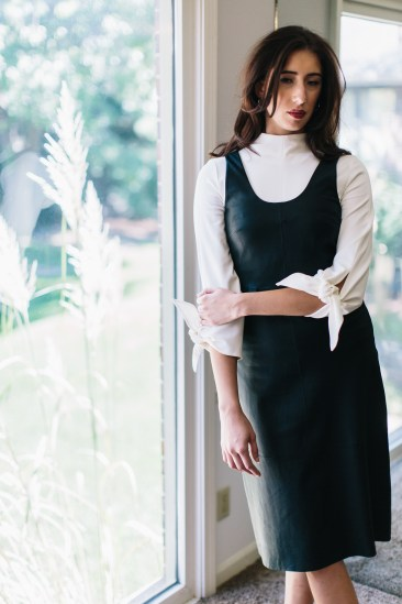 Tibi knit tie-sleeve top. Veda leather dress.