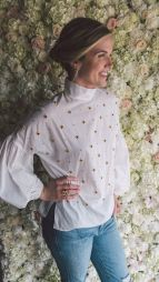 Tibi beaded blouse. Elizabeth & James jewelry.