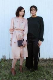 (L) M.i.h. embroidered dress, Ted Baker Bag and Elizabeth & James jewelry. (R) Tibi wool sweater, DVF pants and Lizzie Fortunato earrings.