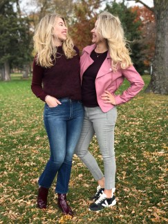 On Emily (left): Mih Jeans Sweater, Mother Denim. On Marion (right): Ted Baker Jacket, ATM Tee Shirt, Rag & Bone Jeans, Piedras Designs Jewelry.