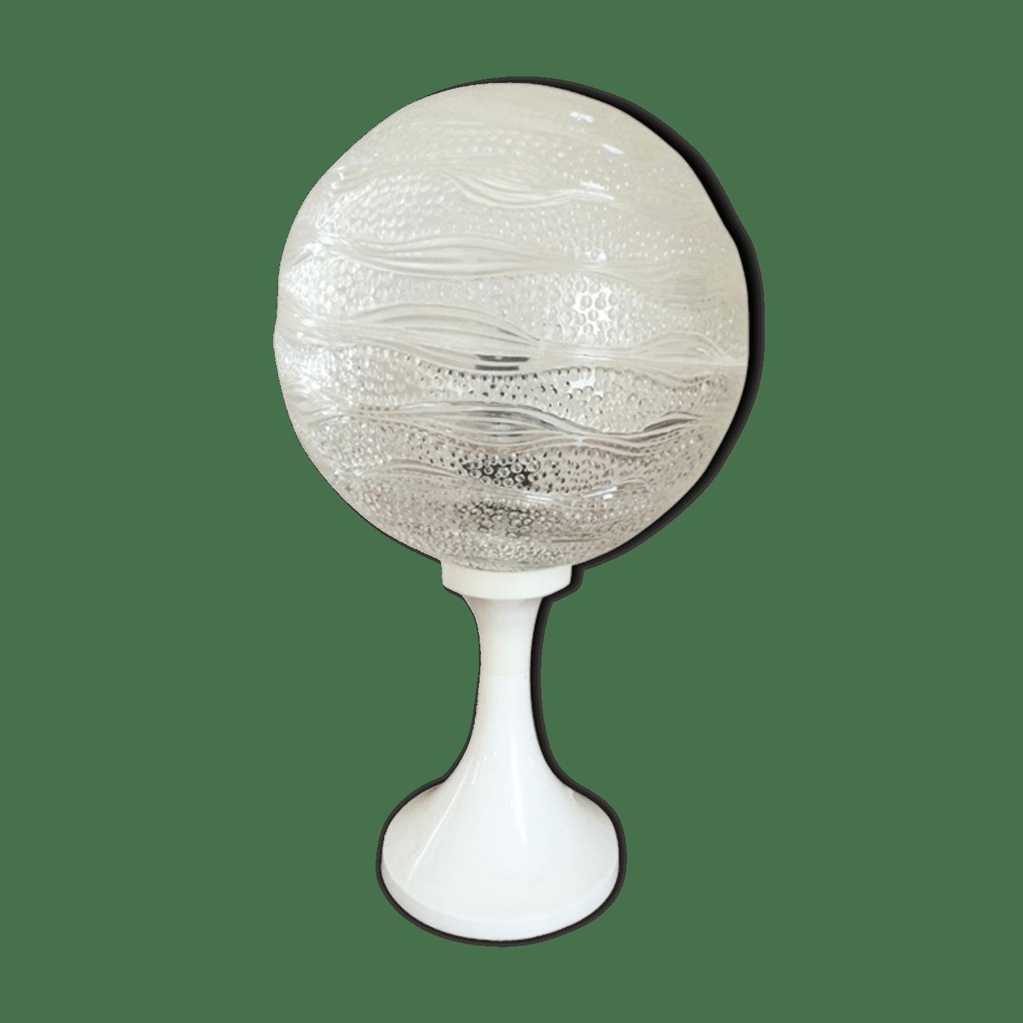 Lampe Pied Transparent Transparent Cristal Tiges Argent Argent