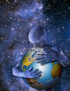 Man Hugging Earth --- Image by © Mike Agliolo/Corbis