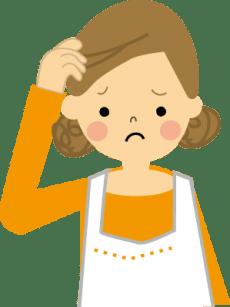 困った顔の女性の画像