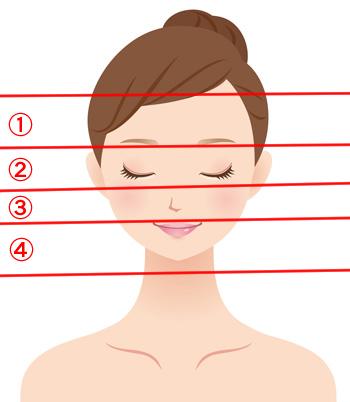 顔のリフトアップは4分割の画像