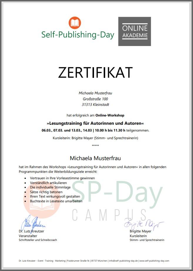 Zertifikat Beispiel