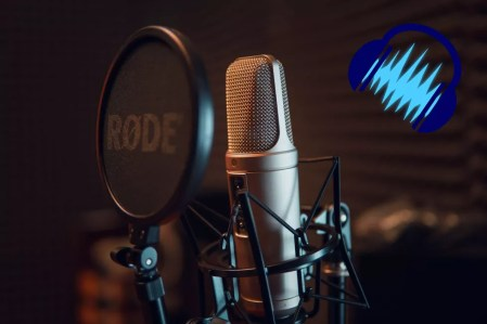microphone stand with audacity logo