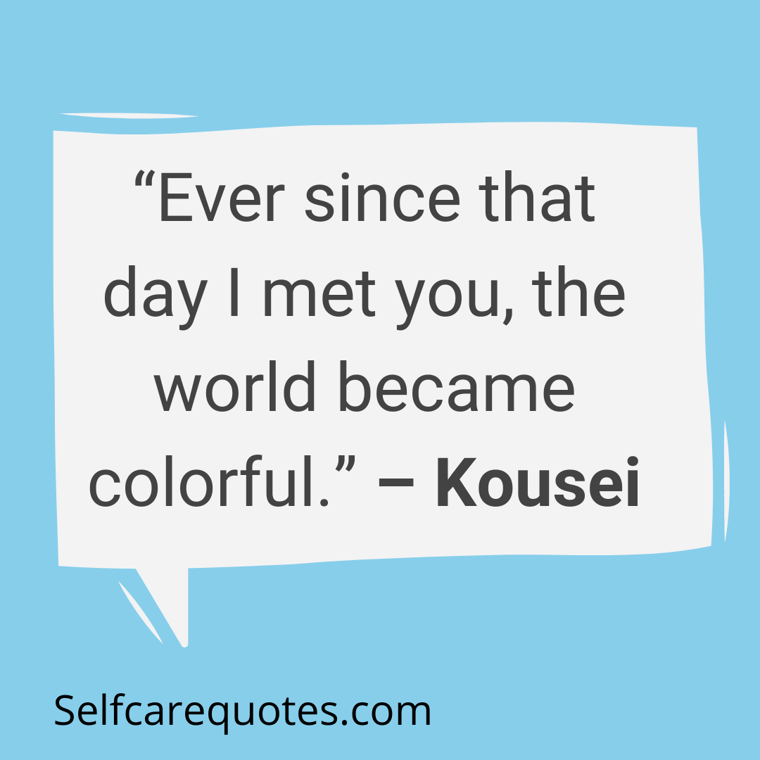 Ever since that day I met you, the world became colorful. – Kousei