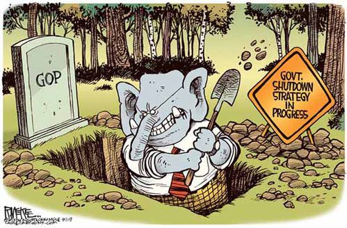 Image result for republicans shut down government cartoons