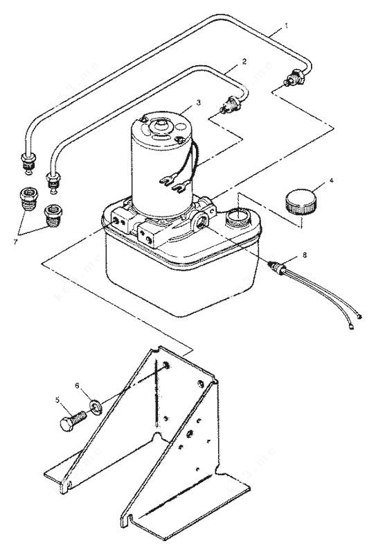 Mercury Force 85 H.P. 1989 L-Drive, Trim Pump and Lines