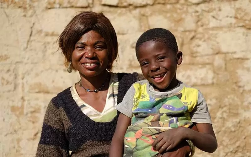 Micheline and her son Honoko, Zambia
