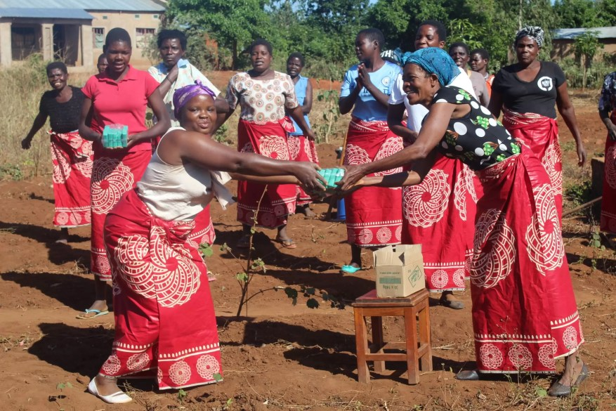 Women in Malawi with soap