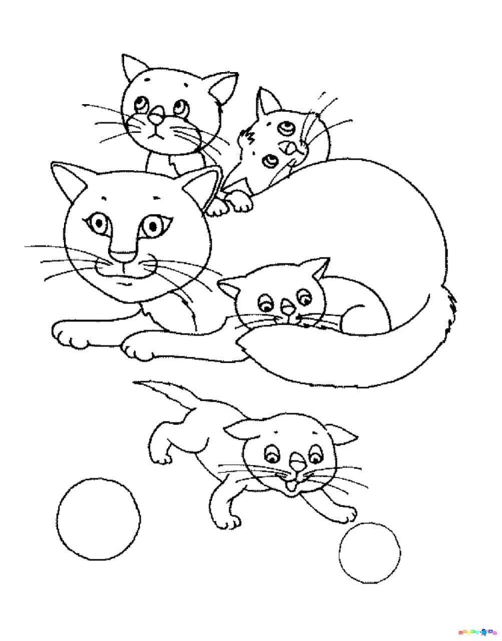 الرقم قلم رصاص للأطفال الطباعة تلوين في الانترنت القطط