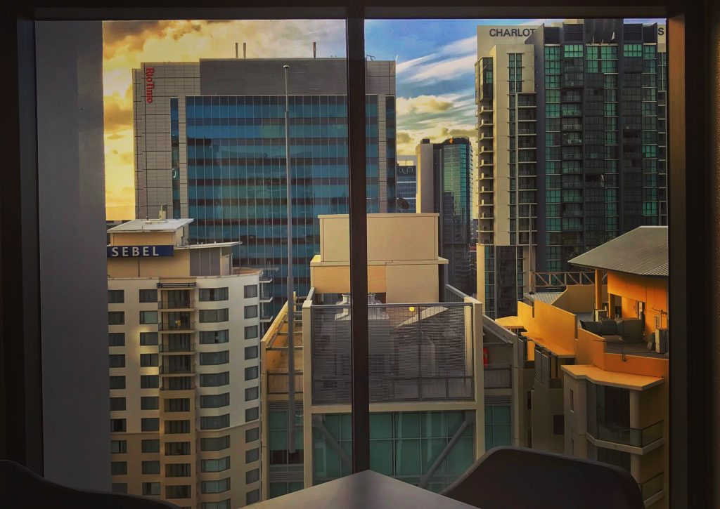Sunset view of Brisbane CBD from hotel