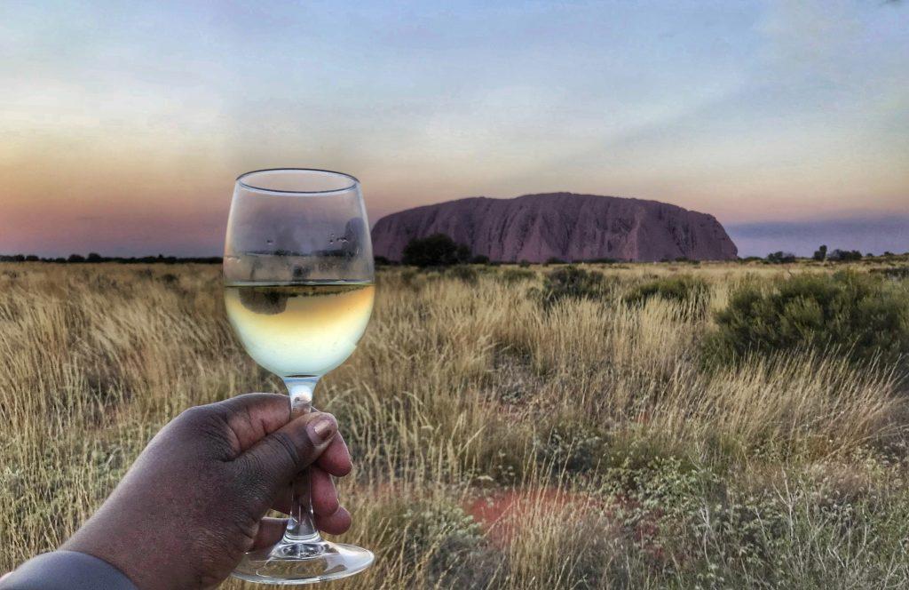 Sunset at Ayers Rock/Uluru with wine