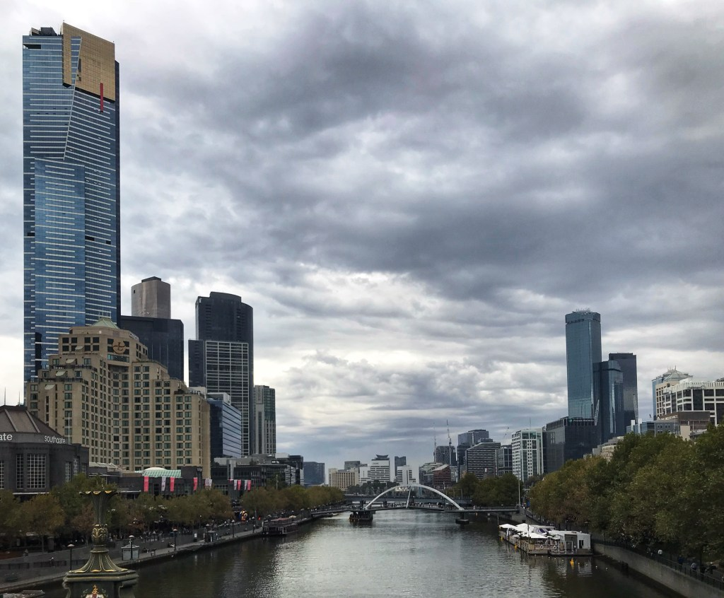 View of Melbourne Australia CBD from above the Yarra River