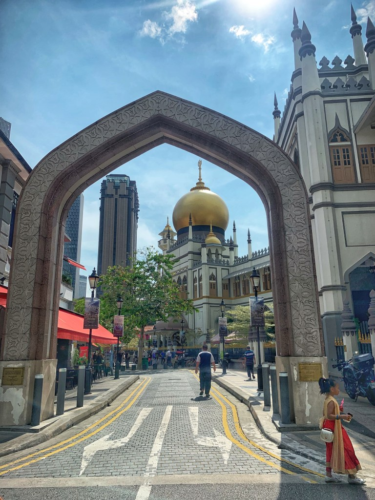 View of the Sultan Mosque through an Arch on the Kampong Glam Tour in Singapore with the bitemojo app - image taken with an iPhone XS
