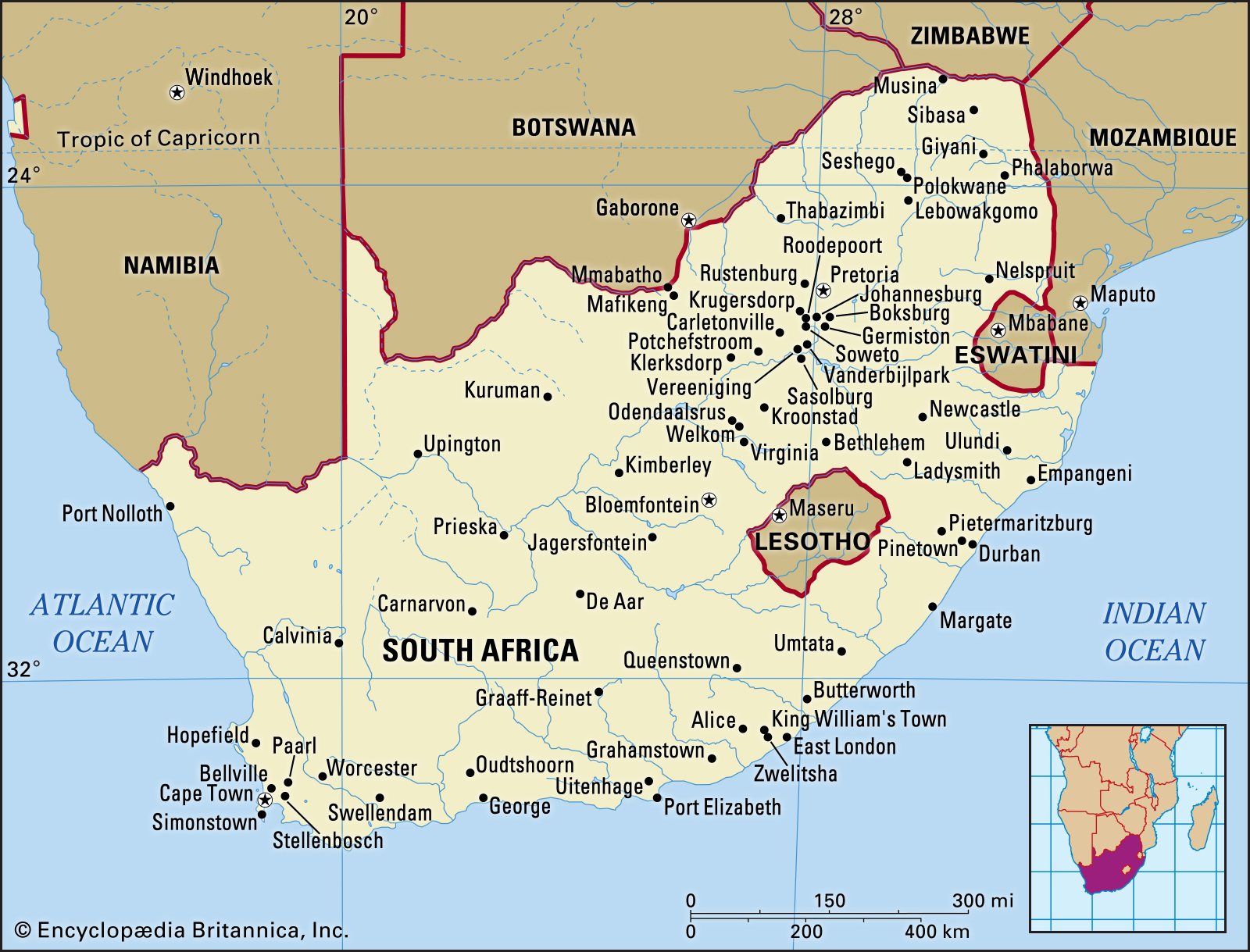South Africa map on SelfishMe Travel