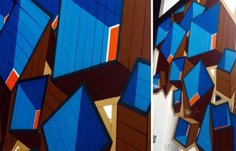 Abstract packing tape street art in Hamburg-detail shot