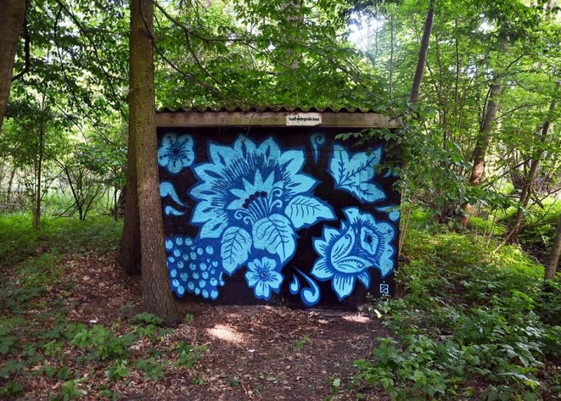 Blue Khokhloma Pattern- Graffiti series in forest by Ostap