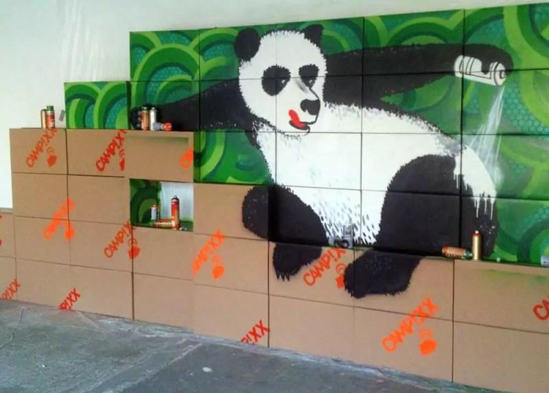 Panda Update- Partition Wall Indoor Graffiti- Closeup