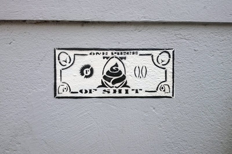 Shitmoney stencil street art Ostapartist